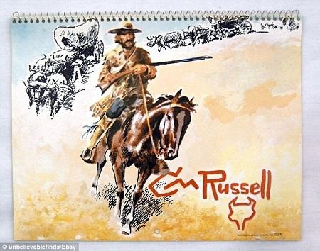 Một cuốn lịch với những bức hình minh họa là các cao bồi miền Tây ở những thập niên trước.