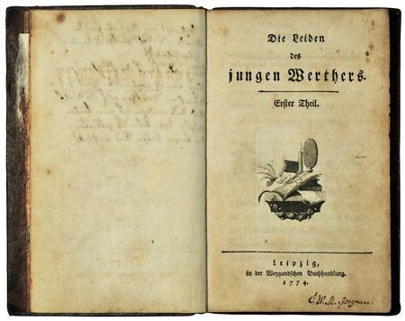 Trang bìa bản in đầu tiên cuốn Nỗi đau của chàng Werther