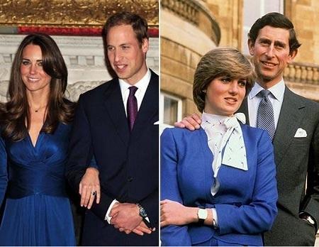 Cả hai cùng chọn màu váy xanh cho lễ công bố đính hôn