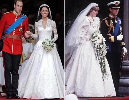 Nét tương đồng của hai chiếc váy cưới