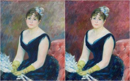 Sự khác biệt giữa bức tranh gốc và bức tranh số hóa với màu sắc đã được phục hồi về nguyên bản.