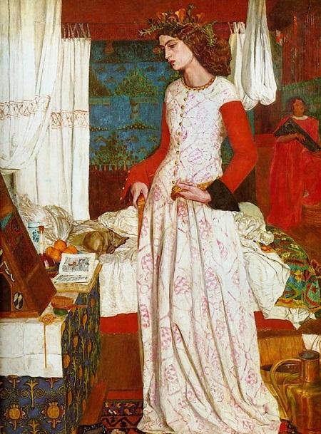 """Bức """"Nữ hoàng Guinevere"""" (1858) của William Morris khắc họa chân dung nàng Jane"""