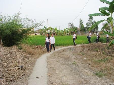 Đường dẫn đi lên cầu phía bên trường học hiện cũng là mượn tạm đất nhà dân.
