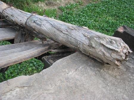 Những thanh cây ván mục gãy, thanh sắt rỉ sét trông hết sức tạm bợ, nguy hiểm cho người xe đi qua.