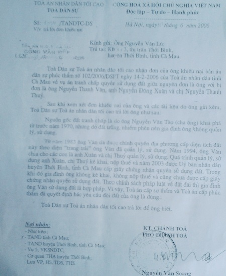 Công văn Tòa Dân sự (TANDTC) khẳng định gia đình ông Vân sử dụng đất hợp pháp.