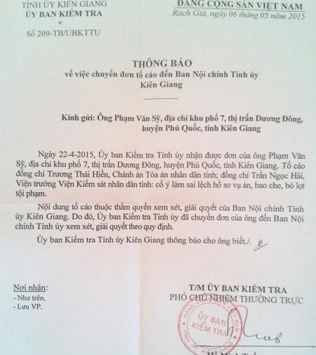 """Vụ """"Cố ý gây thương tích"""" ở Kiên Giang: Chuyển đơn đến Ban Nội chính Tỉnh ủy"""