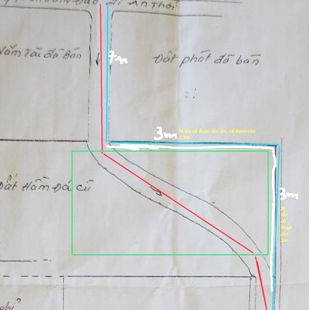 Đoạn bị Công ty Hải Lưu xây khu nhà lấn còn 2m.