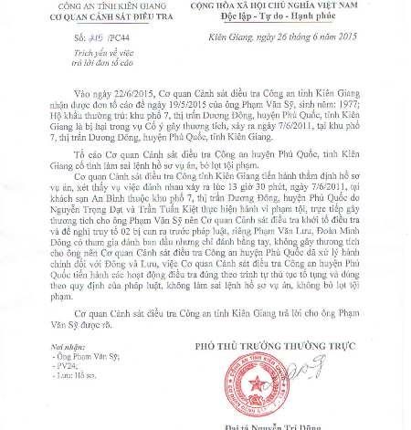 Văn bản trả lời của CQĐT Công an tỉnh Kiên Giang.