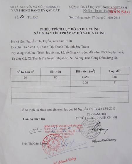 Xác nhận của Sở TN-MT Sóc Trăng đất của ông Đổm.