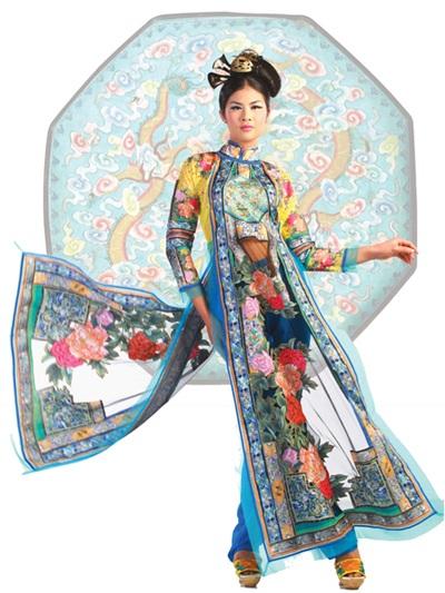 Một số mẫu thiết kế áo dài với chất liệu thổ cẩm của NTK Minh Hạnh