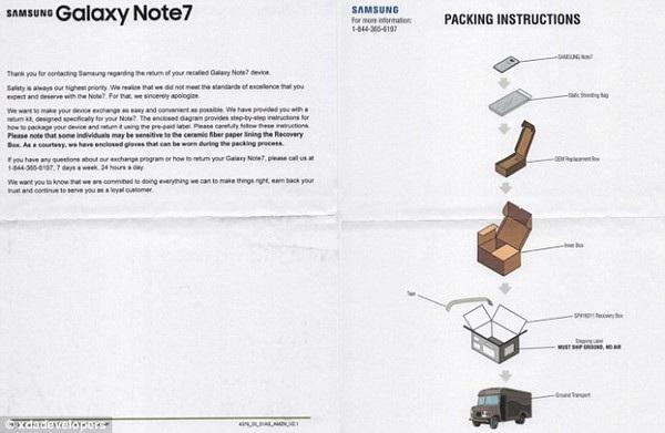 Giấy hướng dẫn cách đóng gói bưu phẩm và gửi trả Galaxy Note7 bằng đường bưu điện