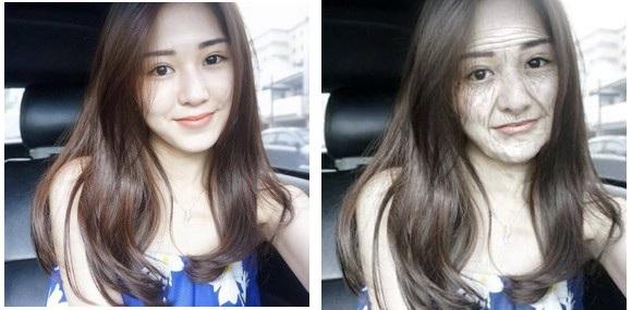 Hình ảnh gốc của một cô gái (trái) và hình ảnh sau 60 năm nữa do Oldify tạo ra