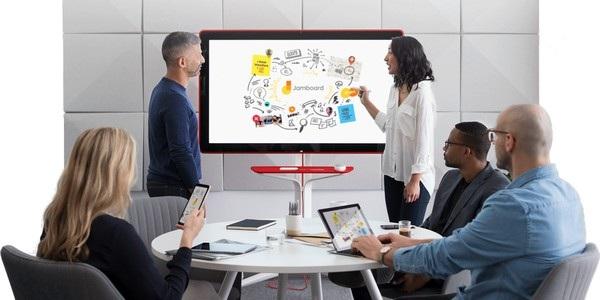 Jamboard được sử dụng để thay thế bảng viết thông thường trong phòng họp