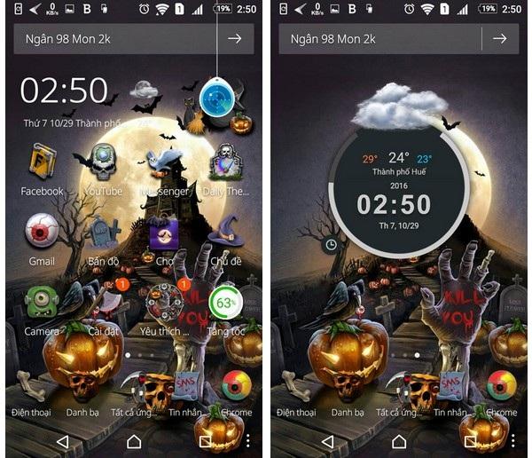 Bộ giao diện Halloween Night Theme mang đến cho thiết bị Android một phong cách ma quái và độc đáo đúng tinh thần ngày Halloween