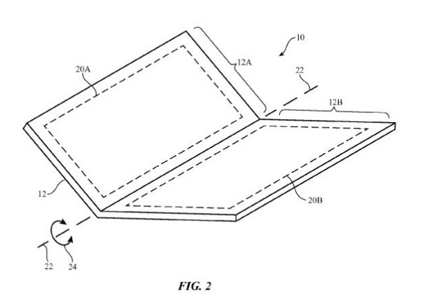 Hình ảnh mô tả trong bằng sáng chế của Apple cho thấy chiếc iPhone có thể được gập đôi