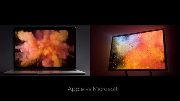 Một trong các chi tiết trùng hợp giữa clip quảng cáo của Surface Studio và MacBook Pro thế hệ mới