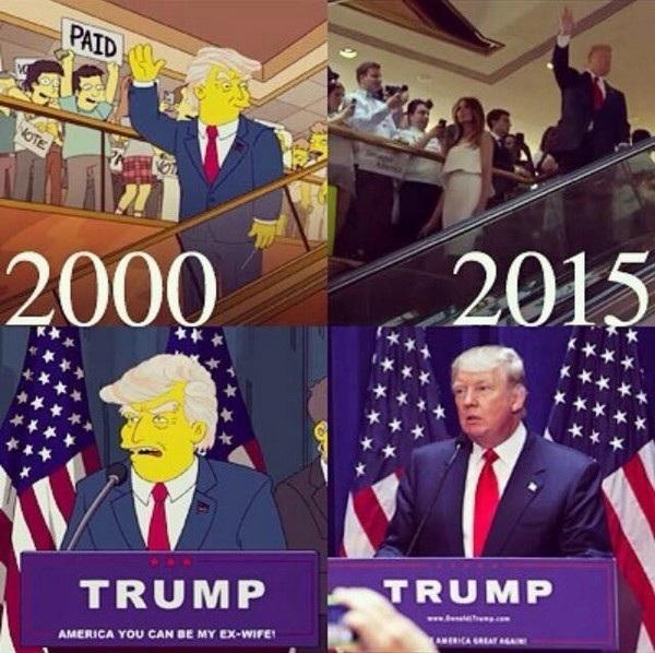"""Hình ảnh đang gây sốt trên cộng đồng mạng về một tập trong series phim hoạt hình nổi tiếng """"The Simpsons"""" ra mắt năm 2000 có nội dung Donald Trump sẽ trở thành Tổng thống Mỹ, với những chi tiết giống hệt những gì đang diễn ra vào năm 2015, khi ông Trump đang tranh cử cho vị trí ứng viên Tổng thống. Tuy nhiên sự thật sau đó được xác định rằng thực chất hình ảnh này được lấy từ một tập phim """"The Simpson"""" ra mắt năm 2015, trong khi Trump đang vận động tranh cử."""