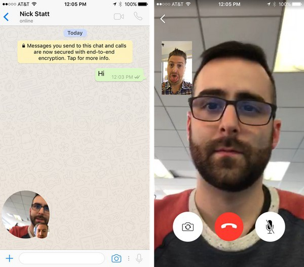 Giao diện gọi video trên WhatsApp tương tự các ứng dụng liên lạc qua Internet khác