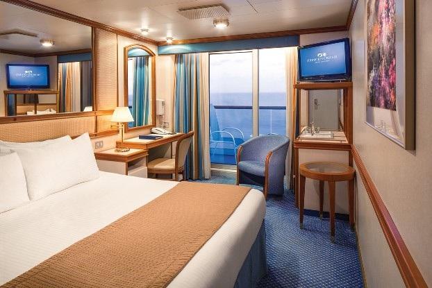 Phần lớn các phòng ngủ của du thuyền Princess Cruises đều thiết kế ban công riêng