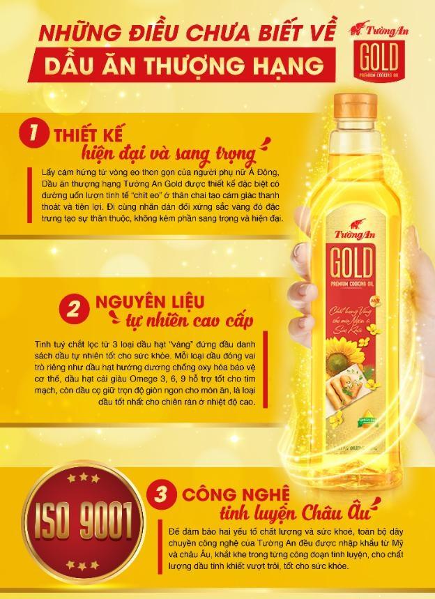 Dầu ăn thượng hạng Tường An Gold xứng đáng là một tuyệt phẩm NGON KHỎE SÁNH ĐÔI dành trọn cho các bữa cơm Việt.