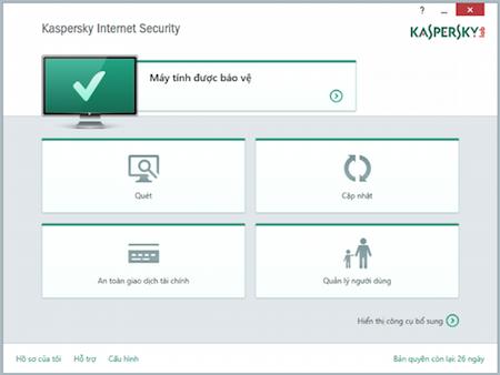 Giao diện Kaspersky Internet Security 2015 phiên bản Việt Hóa