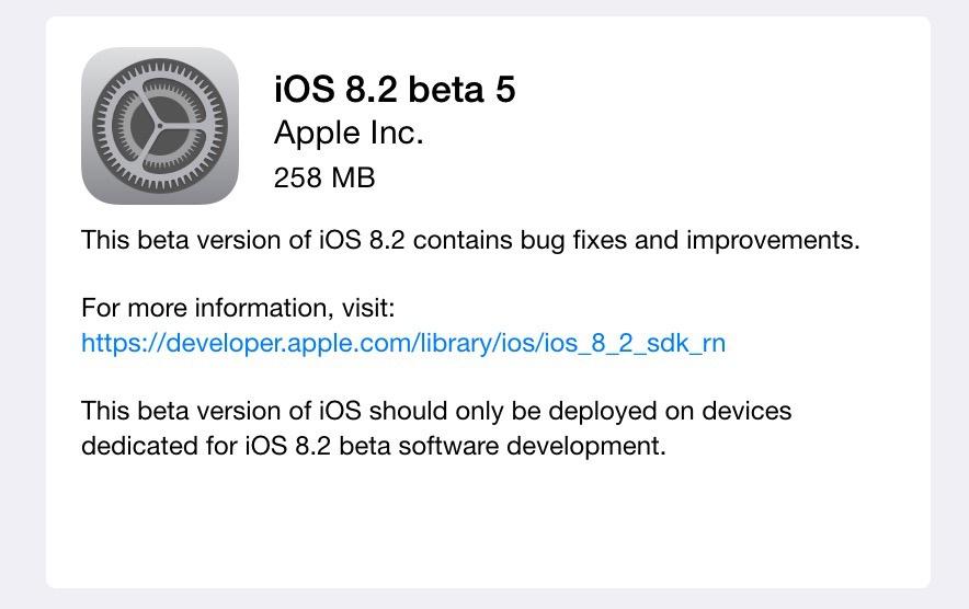 Bản thử nghiệm iOS 8.2 beta 5 dành cho các lập trình viên