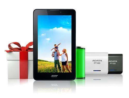 Khách hàng sẽ được tặng pin dự phòng chính hãng Adata khi mua Acer Iconia Tab 7 A1-713