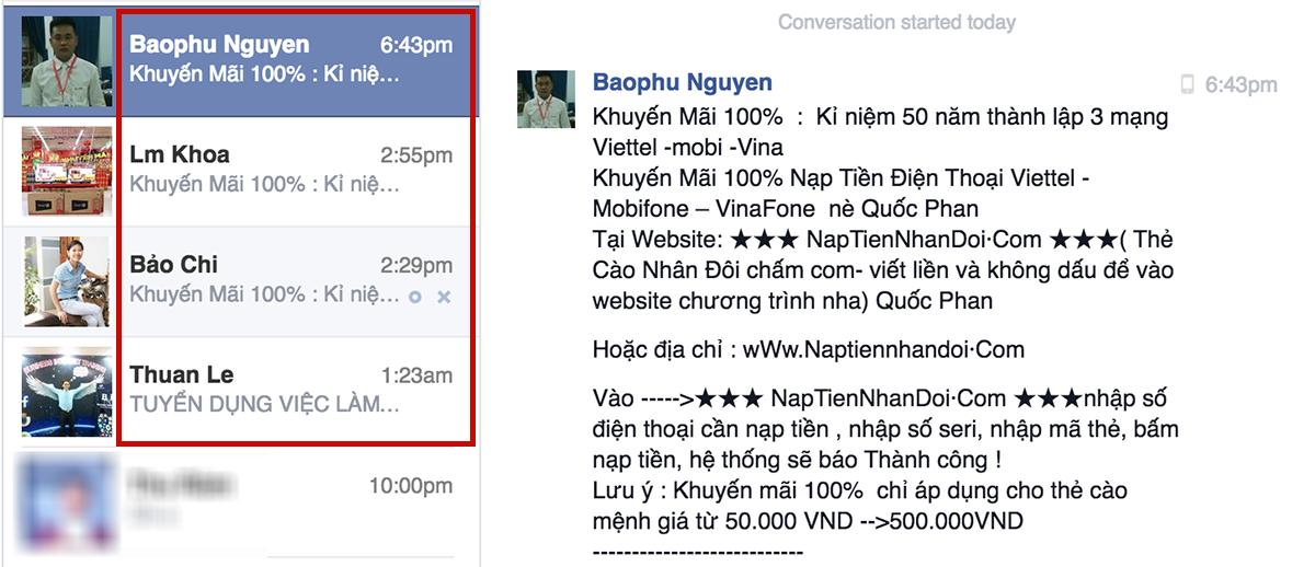 Nhiều người bức xúc vì nhận được nhiều tin nhắn lừa đảo hiện nay trên Facebook