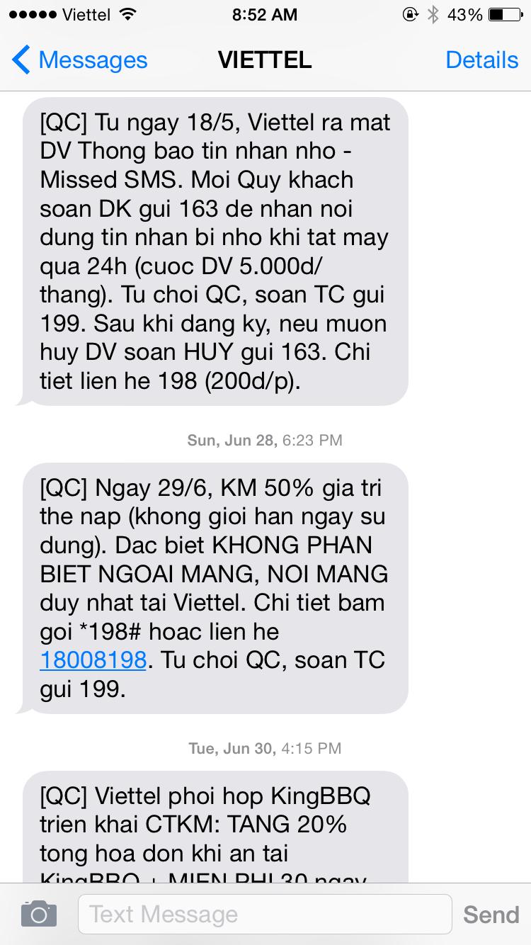 Tin nhắn khuyến mãi sẽ được gửi từ tổng đài thông qua số điện thoại trả trước của người dùng