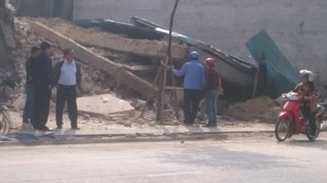 Hiện trường vụ sập nhà (ảnh CTV)