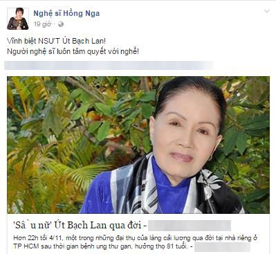 """Ngập tràn dòng facebook nghệ sĩ Việt tiếc thương """"Sầu nữ"""" Út Bạch Lan - 4"""