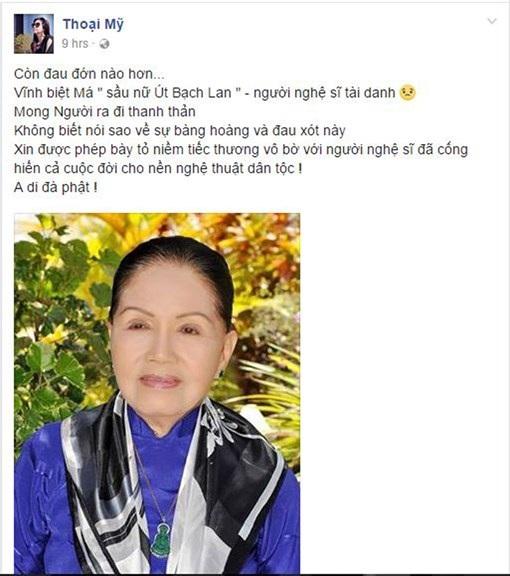 """Ngập tràn dòng facebook nghệ sĩ Việt tiếc thương """"Sầu nữ"""" Út Bạch Lan - 5"""