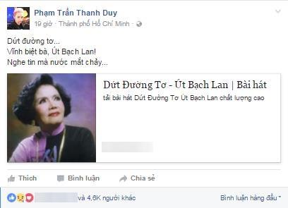 """Ngập tràn dòng facebook nghệ sĩ Việt tiếc thương """"Sầu nữ"""" Út Bạch Lan - 7"""