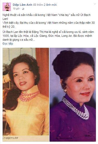 Thanh Duy, Diệp Lâm Anh bàng hoàng khi hay tin NSƯT Út Bạch Lan qua đời.