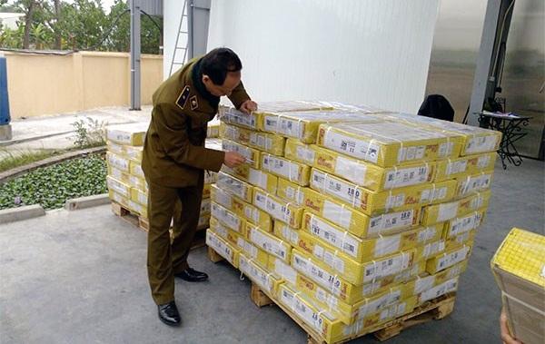 Lực lượng quản lý thị trưởng kiểm tra lô hàng thịt trâu nhập khẩu của một công ty.