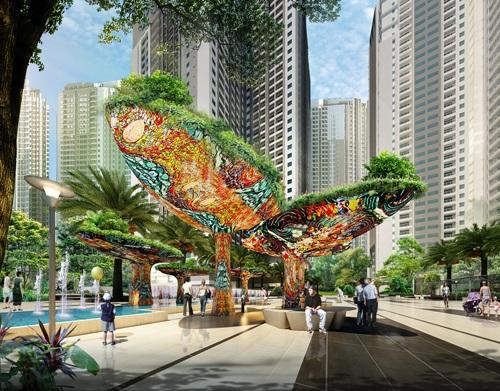"""Phối cảnh quảng trường Ruby của dự án Goldmark City, một trong những dự án do Eden Landscape tư vấn thiết kế theo định hướng """"Landscape marketing"""""""