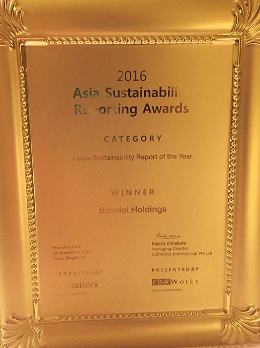 Báo cáo của Tập đoàn Bảo Việt đạt Giải đặc biệt của Châu Á về báo cáo phát triển bền vững tốt nhất 2016