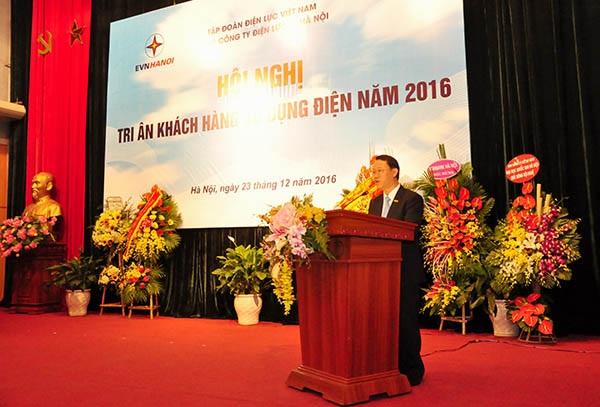 Ông Nguyễn Quang Trung - Phó Tổng Giám đốc EVN trình bày báo cáo tại Hội nghị