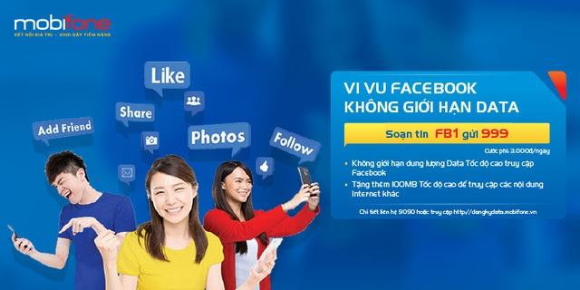 Facebook data giúp thuê bao MobiFone selfie, check-in thoải mái mà không sợ tốn tiền.