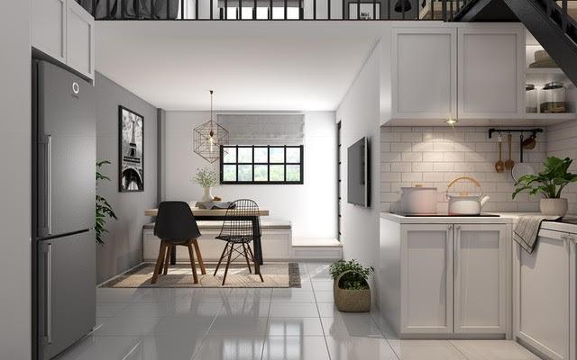 Màu ghi đậm kết hợp với màu trắng chủ đạo giúp cho căn hộ 30m2 nhìn rộng rãi hơn hẳn.