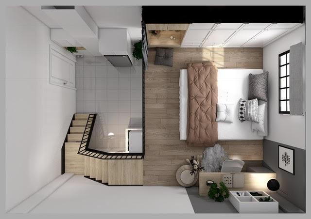 Tổng thể căn hộ 30m2 hài hòa đạt cả về hình thức lẫn công năng sử dụng.