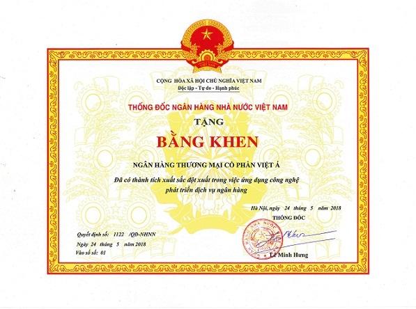 Để ghi nhận những nỗ lực và thành tích đạt được trong hoạt động kinh doanh, Thống đốc Ngân hàng Nhà nước đã tặng bằng khen cho VietABank vào tháng 5/2018 vừa qua.