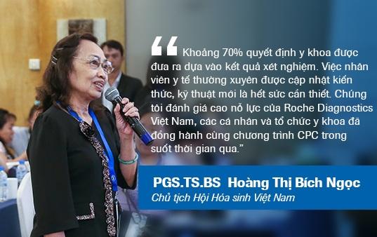 Đồng hành cùng CPC qua 10 lần tổ chức, PGS.TS.BS. Hoàng Thị Bích Ngọc đánh giá mức độ cần thiết của việc cải thiện kết quả xét nghiệm trong khám chữa bệnh nói chung, và sự đóng góp của CPC vào mục tiêu trên nói riêng.