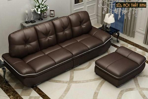 Ghế sofa cho chung cư với diện tích nhỏ rất được ưa chuộng khi kết hợp bộ văng với 1 chiếc đôn to thiết kế gọn nhẹ, dễ dàng di chuyển