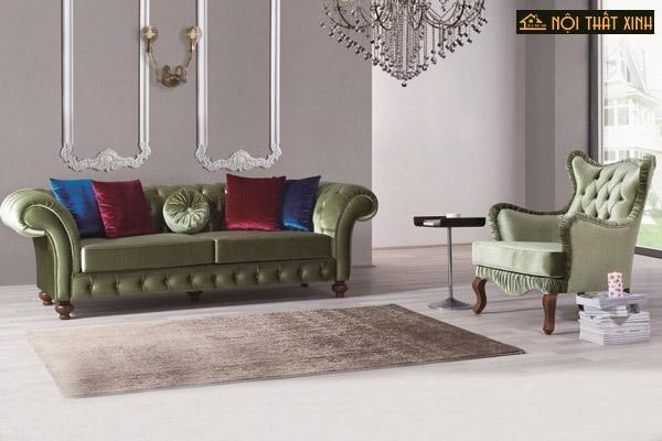 Tận dụng trọn vẹn sức hút hấp dẫn từ cảm hứng sofa tân cổ điển nhỏ gọn, thiết kế độc đáo theo form dáng xu hướng hoàn toàn mới cho phòng khách chung cư nhỏ