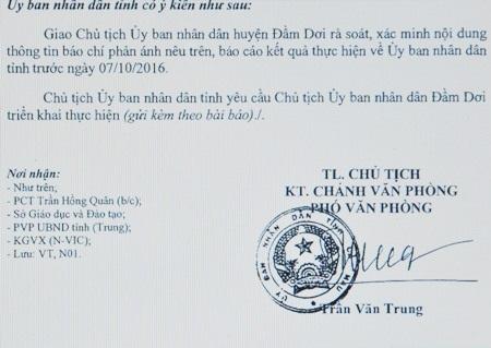 Công Văn chỉ đạo kiểm tra, xử lý của UBND tỉnh Cà Mau.
