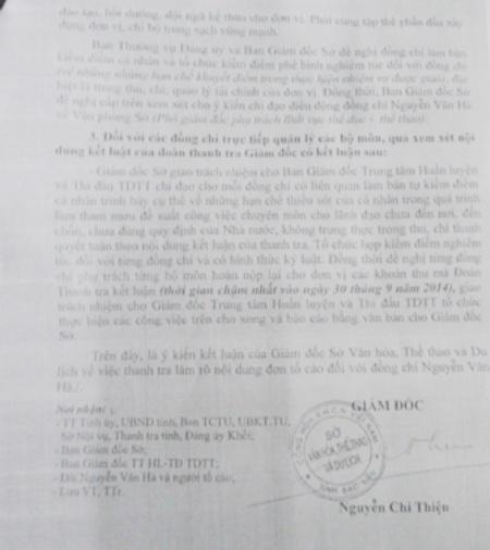 Giám đốc Sở VH-TT&DL Bạc Liêu Nguyễn Chí Thiện kết luận xử lý sai phạm tại Trung tâm HL&TĐTDTT Bạc Liêu được cho là quá... nhẹ tay.