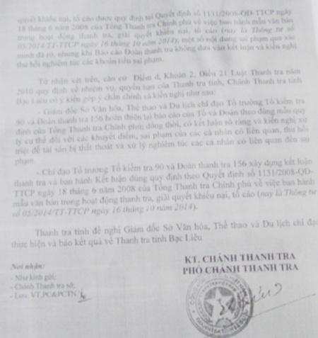 Thanh tra Nhà nước tỉnh Bạc Liêu chỉ rõ báo cáo thanh tra và kết luận xử lý của Sở VH-TT&DL Bạc Liêu đối với sai phạm của Trung tâm HL&TĐTDTT Bạc Liêu còn nhiều thiếu sót.