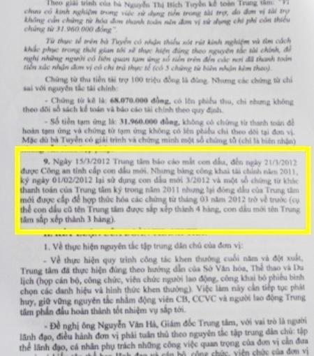Đoàn thanh tra xác định việc sử dụng con dấu giả tại Trung tâm HL&TĐTDTT Bạc Liêu.