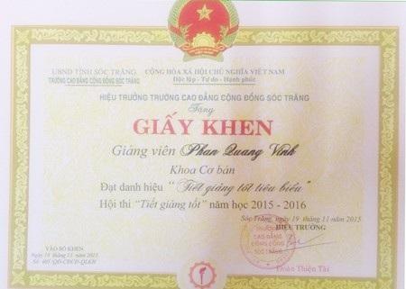 Thầy Phan Quang Vinh có nhiều thách tích trong giảng dạy.